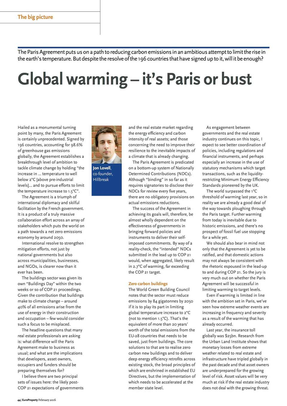 Global Warming - It's Paris Or Bust By Jon Lovell In Europroperty Magazine