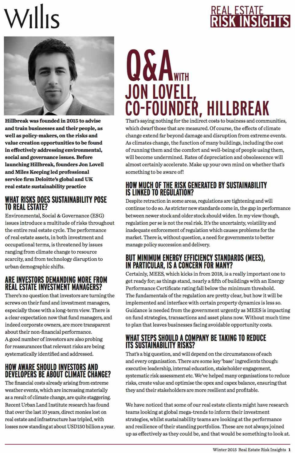Jon Lovell Q&A, Willis Real Estate Risk Insights